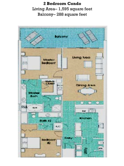 Floor Plan for Beutifully decorated Gulf Front Two Bedroom, Two Bath at The Princess!